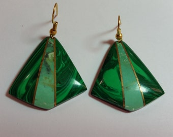 Malachite, Turquoise and Rosewood Inlay Earrings