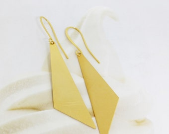Gold triangles earrings, Triangles shape earrings, Geometric earrings, Gold geometric earrings, Gold dangle earrings, Large dangle earrings