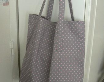 Grey fabric bag with pink stars japanese shopping bag tote bag beach bag  pink cotton market bag handmade in Paris France
