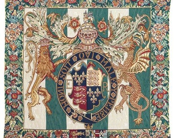 belgian wall tapestry hanging wall decor Royal crest Coat of Arms Honni Soit Qui Mal Y Pense