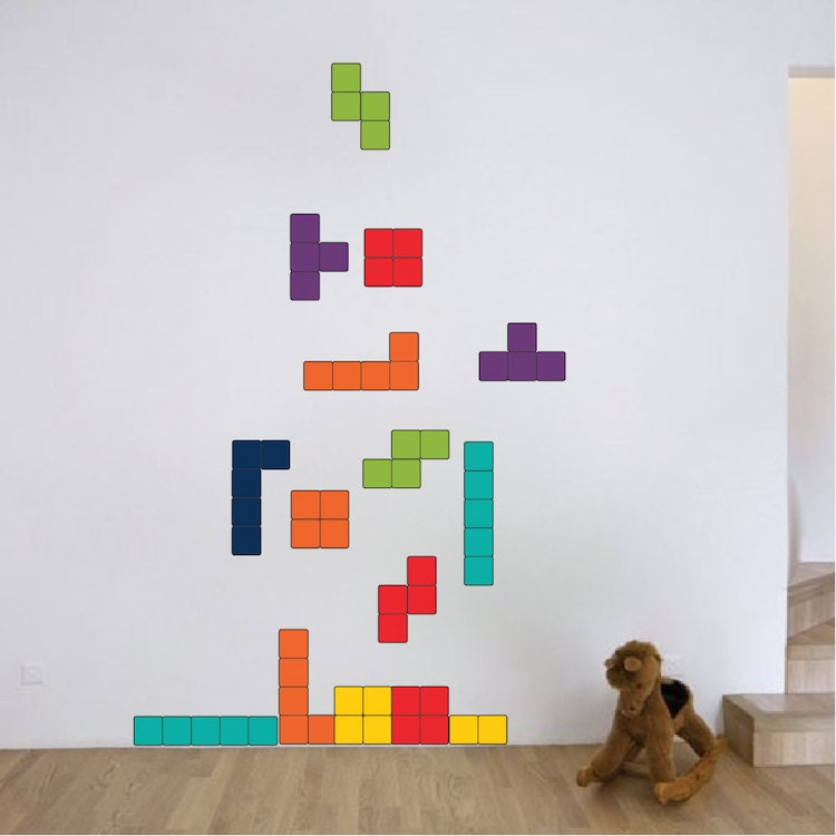 tetris wall decal design kids video game bedroom wall sticker designs tetris wall murals