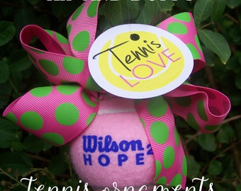 Tennis Ornaments, Preppy Tennis Ball Christmas Ornaments