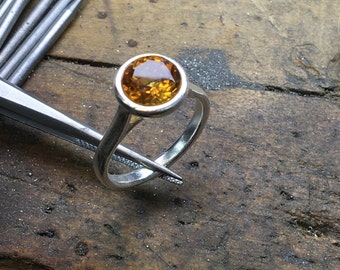 Citrine Ring, Yellow Citrine Ring, Round Citrine Ring, Citrine Engagement Ring, White Gold, Yellow Gold