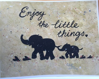 Elephants prints/abstract/metallic/gold/black/hand painted/tribal/baby elephant love