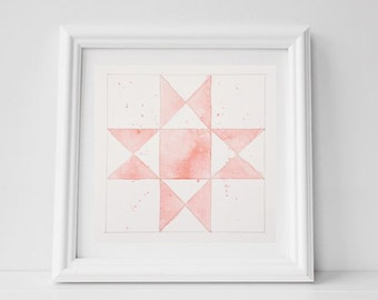 Quilt Square Watercolor Painting, 8x8