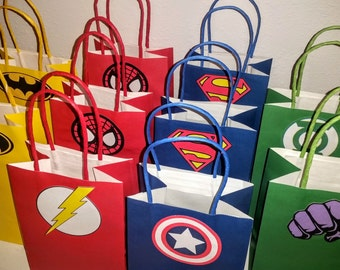 SUPER HERO FAVOR Bags - 1.50 Each - Spiderman, Superman, Hulk, Green Lantern, Flash and Captain America Inspired Bags - No Favors Included