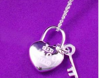 Silver Heart Lock And Key Necklace,Designer Inspired