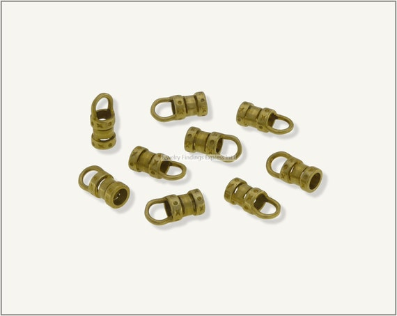 10 pc.+  3mm Crimp End Cap, Crimp Ends, Cord Ends for Leather Cords & Chains - Raw Brass