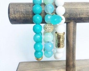 Gemstone stretch bracelet stack