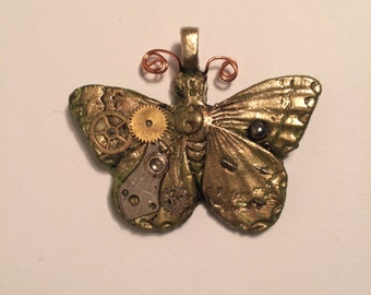 Whimsical Steampunk Butterfly Pendant