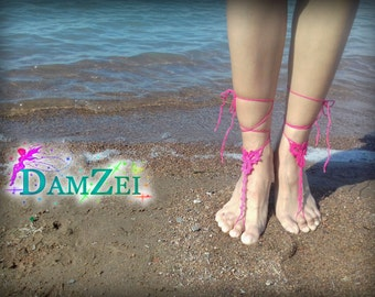 Hot Pink Wedding Barefoot Sandal, Crocheted Heart Anklet, Barefoot Sandal, Lace Barefoot Sandal, Barefoot Anklet, Foot Jewelry