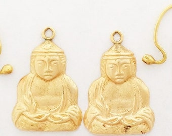 Vintage 14k Gold Buddha, Buddhist Dangle Earrings