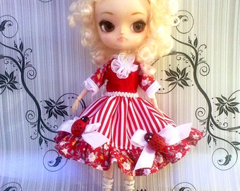 Dress for Pullip. Pullip, doll outfit. Pullip, Pullip doll fascion. Handmade. Outfit for Pullip doll.