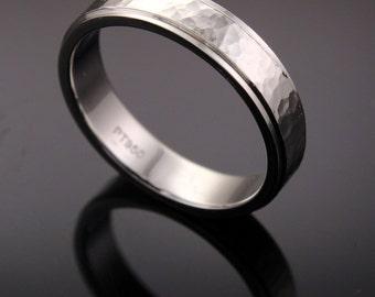Platinum 950 Hammer Finish 5mm Comfort Fit Wedding Band