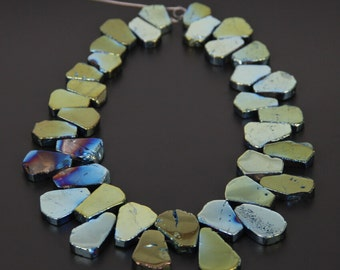 "Raw Titanium Quartz Slices Green Brown Titanium Crystal Slab beads Top drilled Polished Teardrop Beads Points Nugget 15.5"" full strand"