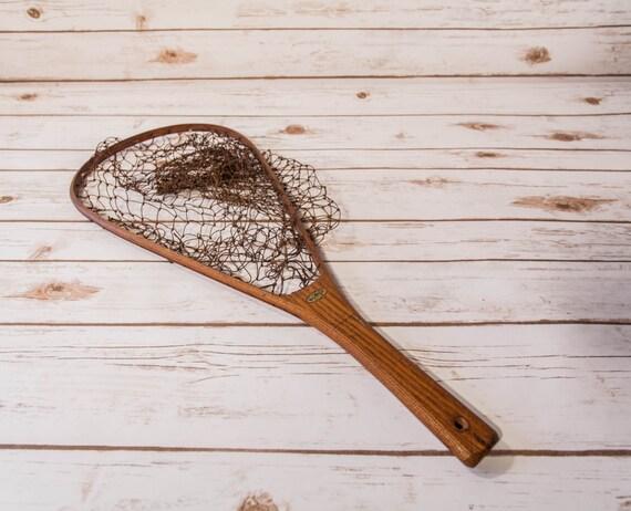 Vintage ed cummings wooden fishing net trout landing net for Wooden fishing net