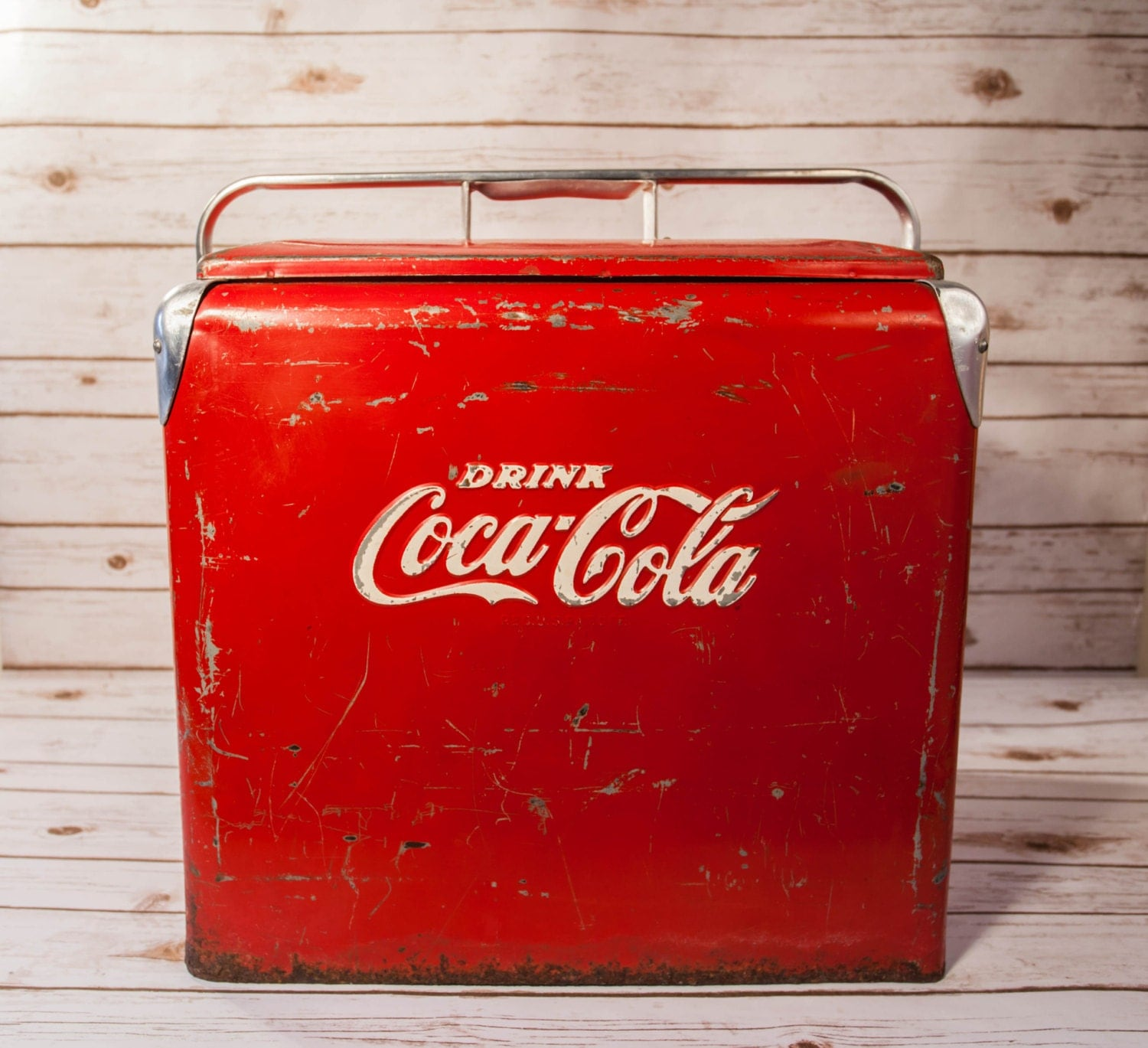 sale vintage coca cola cooler ice chest red white metal. Black Bedroom Furniture Sets. Home Design Ideas