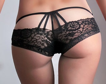 Black Sheer Sexy Lace Panties cage butt,  see through sheer briefs black 2016 erotic look lingerie - Spider Girl new model