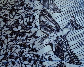 African Wax print Fabric from Ghana, Birds Print