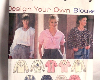 Sewing Pattern, Simplicity 9132, Desiign Your Own Blouse, Uncut Unused, Easy to Sew
