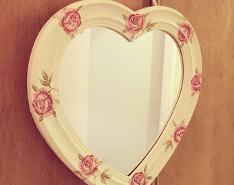 Hand decorated rose and bee heart mirror. Shabby chic decor, hand made, decoupage, floral
