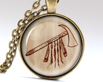 Tomahawk Necklace, Axe Jewelry, Indians Jewelry, Tribal Pendant  LG1017