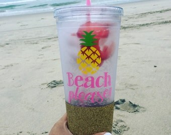 Beach Please Tumbler/ Plastic Tumbler/ Beach Tumbler/ Vacation Tumbler/ Glitter Dipped Mason Jar/ Glitter Tumbler