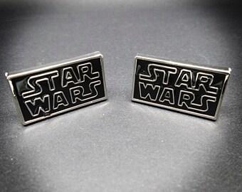 Star Wars cufflinks men's silver plated 3D Star Wars logo cufflinks The Force Awakens