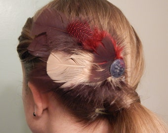 Handmade Red, Brown and Tan Feather Hair Clip with Button