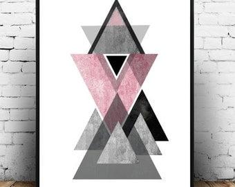 Scandinavian Art, Printable Art, Geometric Print, Abstract Art Print,  Instant Download,  Wall Art