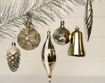 Antique Christmas ornaments Gold Tree decoration Gold Christmas decor Blown glass ornaments Cone Snowflake Icicle Ball Bell #36