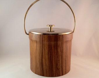 Vintage Wood Look Brown Ice Bucket