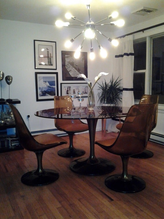 Mid Century Modern 4 Swivel Lucite Chairs Amp Glass Top Dining