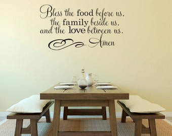 Bless the Food Before Us the Family Beside Us and the Love Between Us Prayer Amen Vinyl Wall Decal Sticker