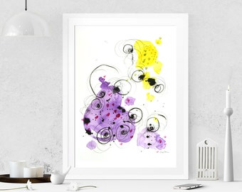 Violet painting Abstract painting on paper Abstract art Watercolor painting Modern art Original painting Abstract wall art Wall hanging