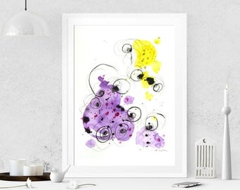 Violet painting Abstract painting on paper Abstract art Acrylic painting Modern art Original painting Abstract wall art Wall hanging