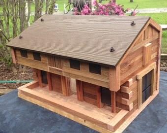 Pennsylvania Barn Bird Feeder - Rustic Redwood Log Construction