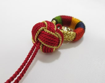 "Kumihimo Amulet Netsuke ""Gorin"" with a bell made of Japanese Traditional KIMONO Braids Cords KUMIHIMO Handmade in Japan"