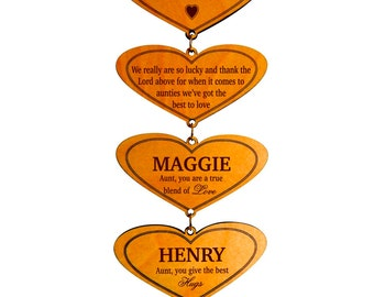 Personalized Aunt Wall Hearts from Nieces and Nephews,Mothers Day Gift to our Aunt,Custom Gift for a Sweet Aunt,Lovely Aunt Keepsake Gift.