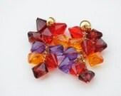 Vintage Cluster Earrings, Colorful Earrings, Statement Earrings, Retro Earrings, Berries Earrings, 90s Vintage Post Earrings