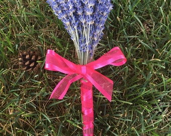 Medium Dried Lavender Bundle - Tied and Wrapped With Ribbon