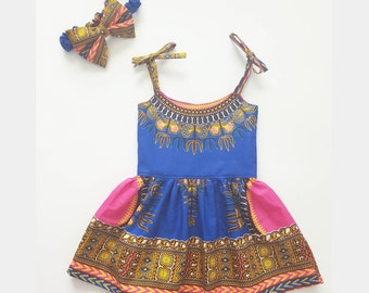 Blue Girls Dashiki Sundress