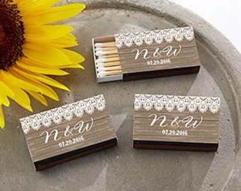 Brown Country Chic Matchbox Wedding Favors or Rustic Bridal Shower Favors (set of 50)