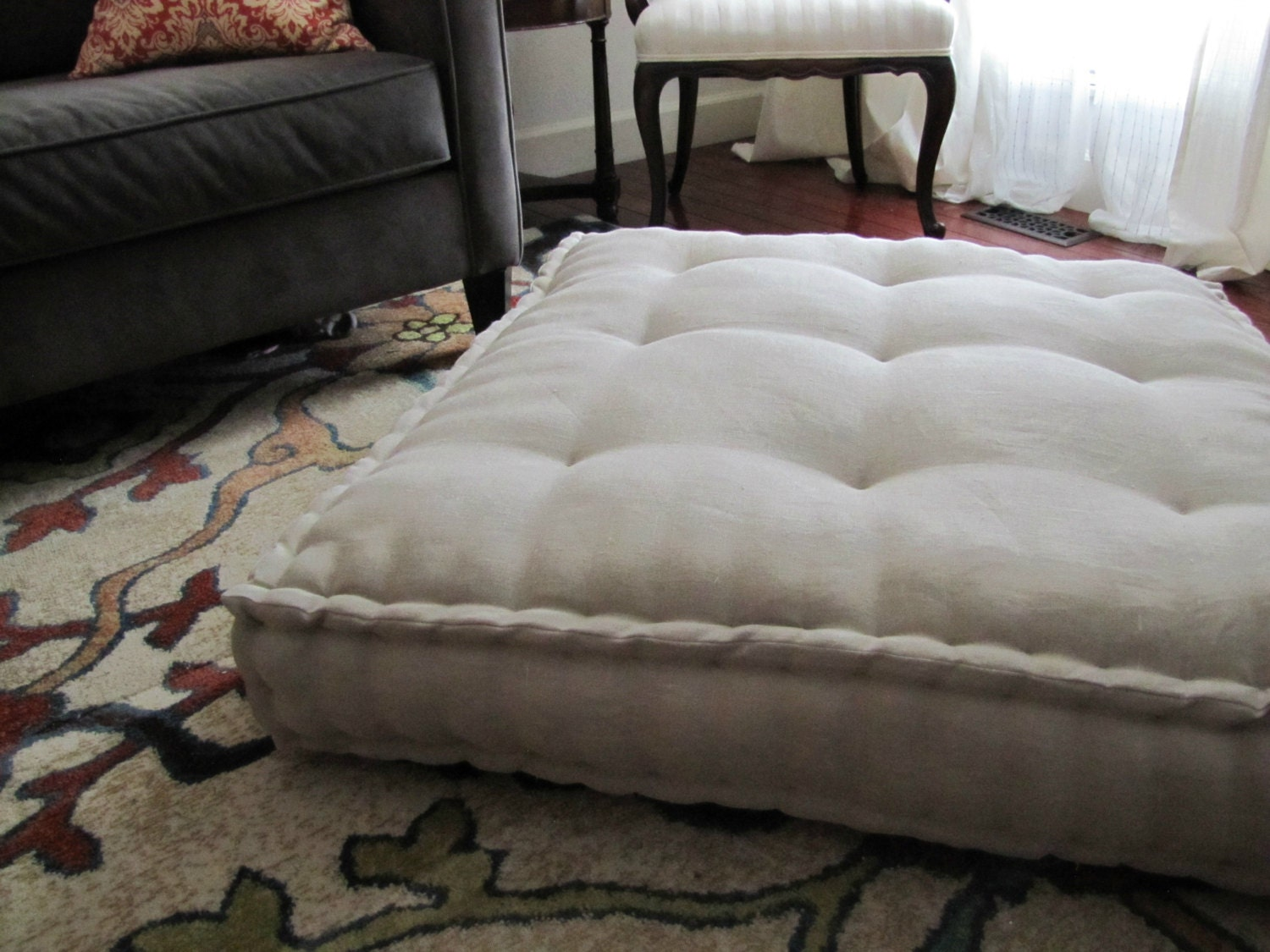 Oversized Plush Floor Pillows : Linen Floor Pillow Oversized Floor Cushion with French