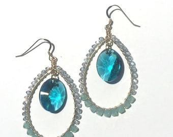 GRETCHEN  EARRING * turquoise drop, sea glass green and pale blue