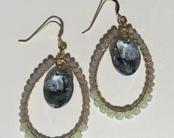 GRETCHEN  EARRING * pale blue drop, gray opal & sea glass