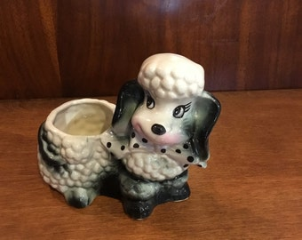 Vintage Ceramic Poodle Planter USA Pottery