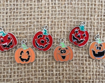 6 | Jack O Lantern Halloween Charms  | Halloween Jewelry | Party favors | 1""