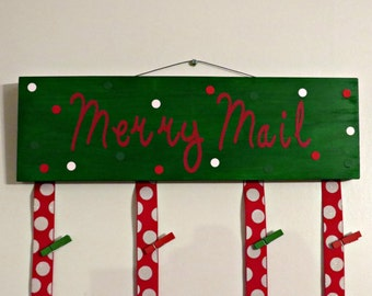 Merry Mail Christmas Card holder, Merry Mail Sign, Christmas card holder, christmas card hanger, christmas card sign, merry mail card holder