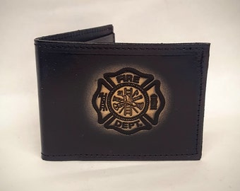Fire Dept. Bifold or Trifold Leather Wallet